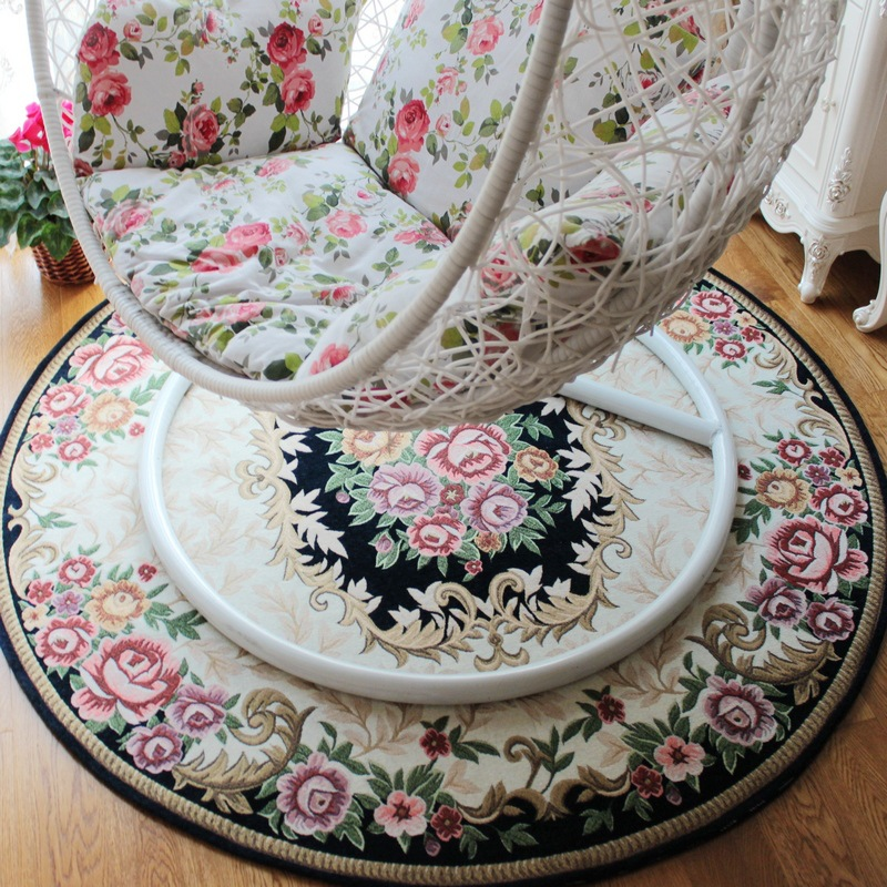 Luxury Europe Round Carpet Diameter 90/100/120CM Jacquard Parlor Living Room Mats Bedroom Chair Rugs Home Hotel Use Decorate
