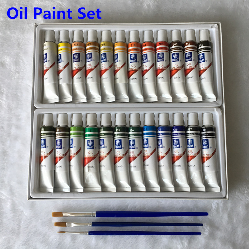Professional Oil Paint Canvas Pigment Art Supplies Paints Each Tube Drawing 12 ML 24 Colors Set Free For Brush цена