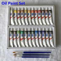 Professional Oil Paint Canvas Pigment Art Supplies Paints Each Tube Drawing 12 ML 24 Colors Set Free For Brush