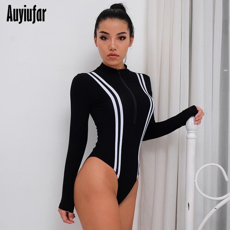 Auyiufar Skinny Patchwork Women Bodysuit Zipper Long Sleeve Female Rompers Casual Black 2019 New Women Sexy Bodycon Bodysuits in Bodysuits from Women 39 s Clothing