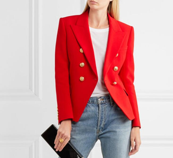 High quality design red color double breasted blazer coat Fashion woman 39 s suit jackets slim short coats S XXL size in Blazers from Women 39 s Clothing