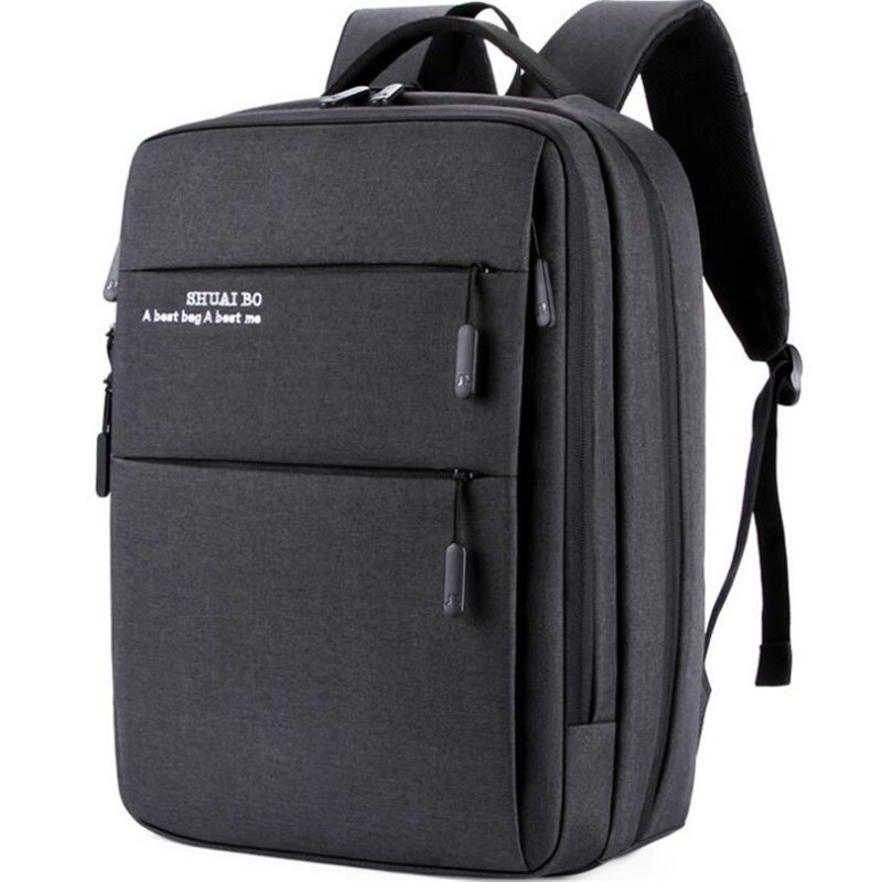 SHUAIBO USB Men Backpack Oxford Backpack Bags College Student Book Bag Large Capacity Fashion Travel Backpack