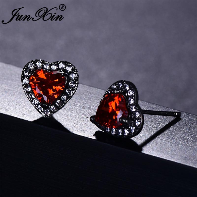 JUNXIN Female Rainbow Fire Opal Stud Earrings For Women Black/Rose Gold Purple Green Blue Zircon Birthstone Heart Earrings Gifts