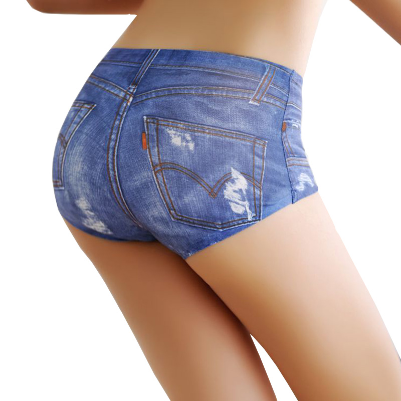 3D Jeans Ice Silk Panties Hip Enhancer Underwear Women Lingerie Very Sexy Seamless Briefs Spandex Thongs Women Bikini Bottom