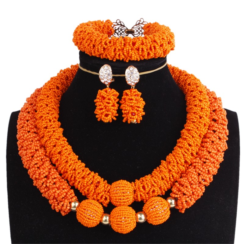 African jewelry Sets for Women Orange & Balls Bold Earrings Bracelet and Necklace Set of Jewelry 2 Layers Christmas 2018 New Set a suit of chic blossom necklace and earrings jewelry for women