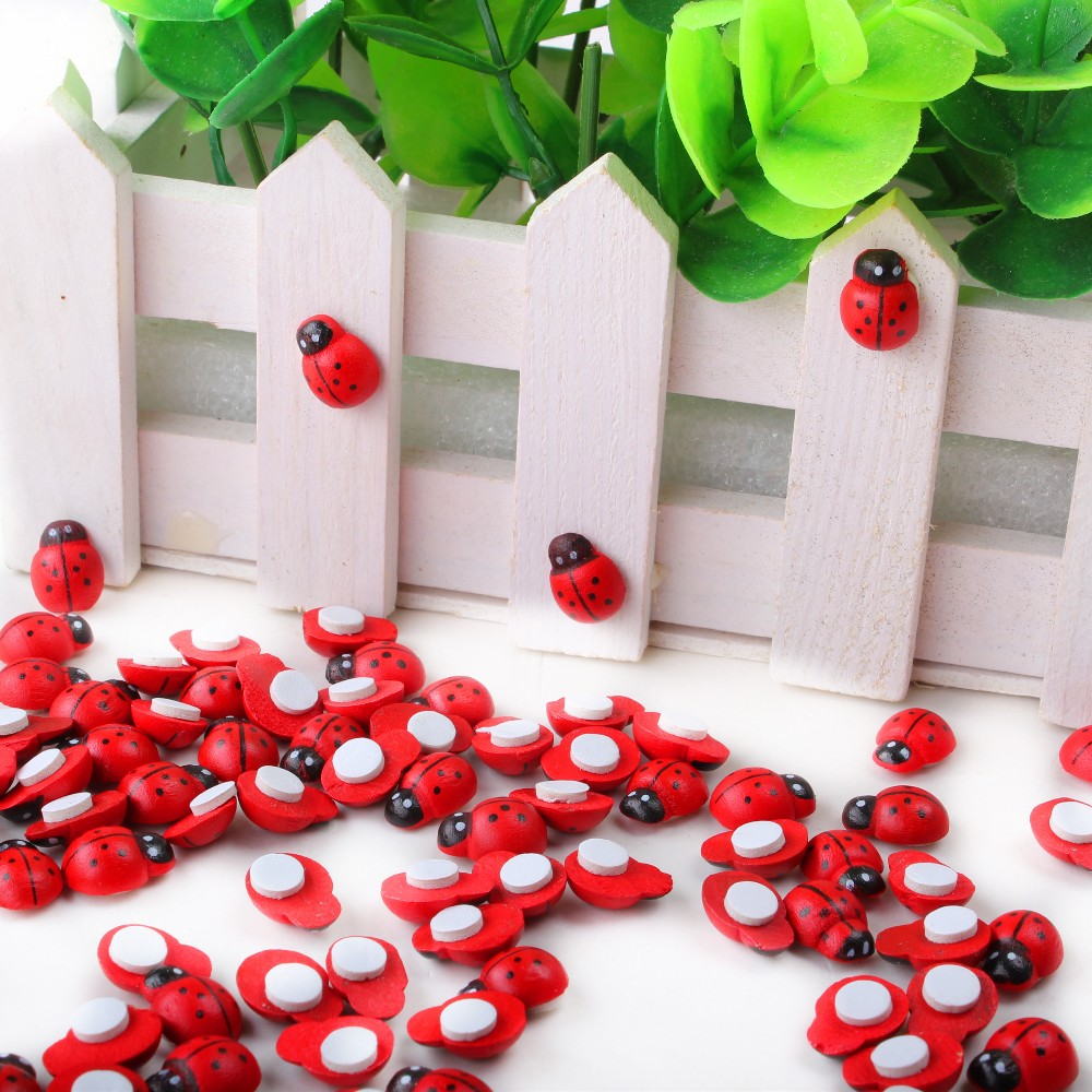 100 шт красные мини деревянные губки Божья коровка самоклеющиеся наклейки милый магнитик изображения детей и мостов для скрапбукинга XP0226