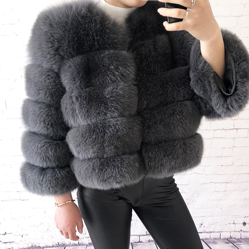 2019 new style real fur coat 100% natural fur jacket female winter warm leather fox fur coat high quality fur vest Free shipping 123