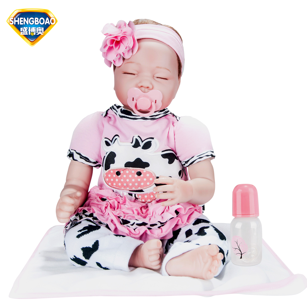 UCanaan Silicone Vinyl Reborn Baby Doll Toys Lifelike Soft Cloth 22 inches Newborn babies Doll Reborn Birthday Gift For Girls  цена и фото