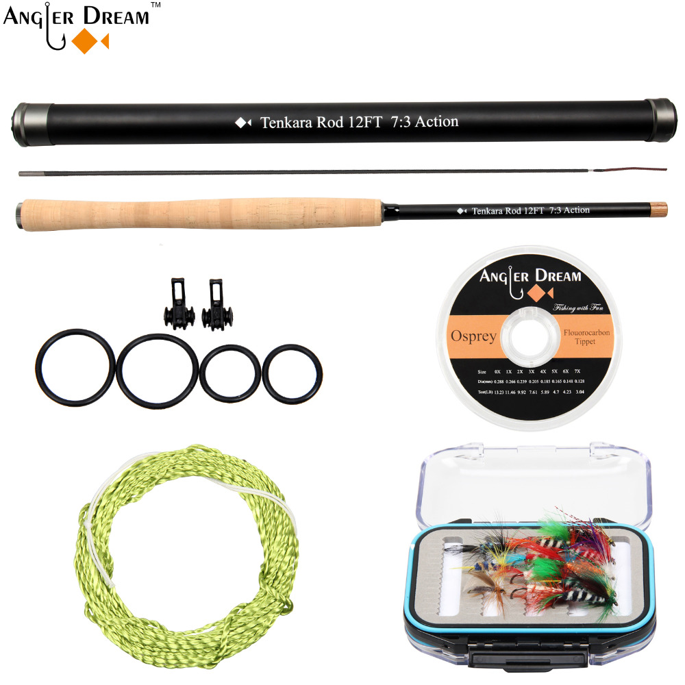 12 / 13FT Tenkara Fly Rod with Spare Tip Fishing Pole Carbon Fiber Fly Fishing Rod& Flouorocarbon Tippet Hook Keeper Furl Leader-in Fishing Rods from Sports & Entertainment    1