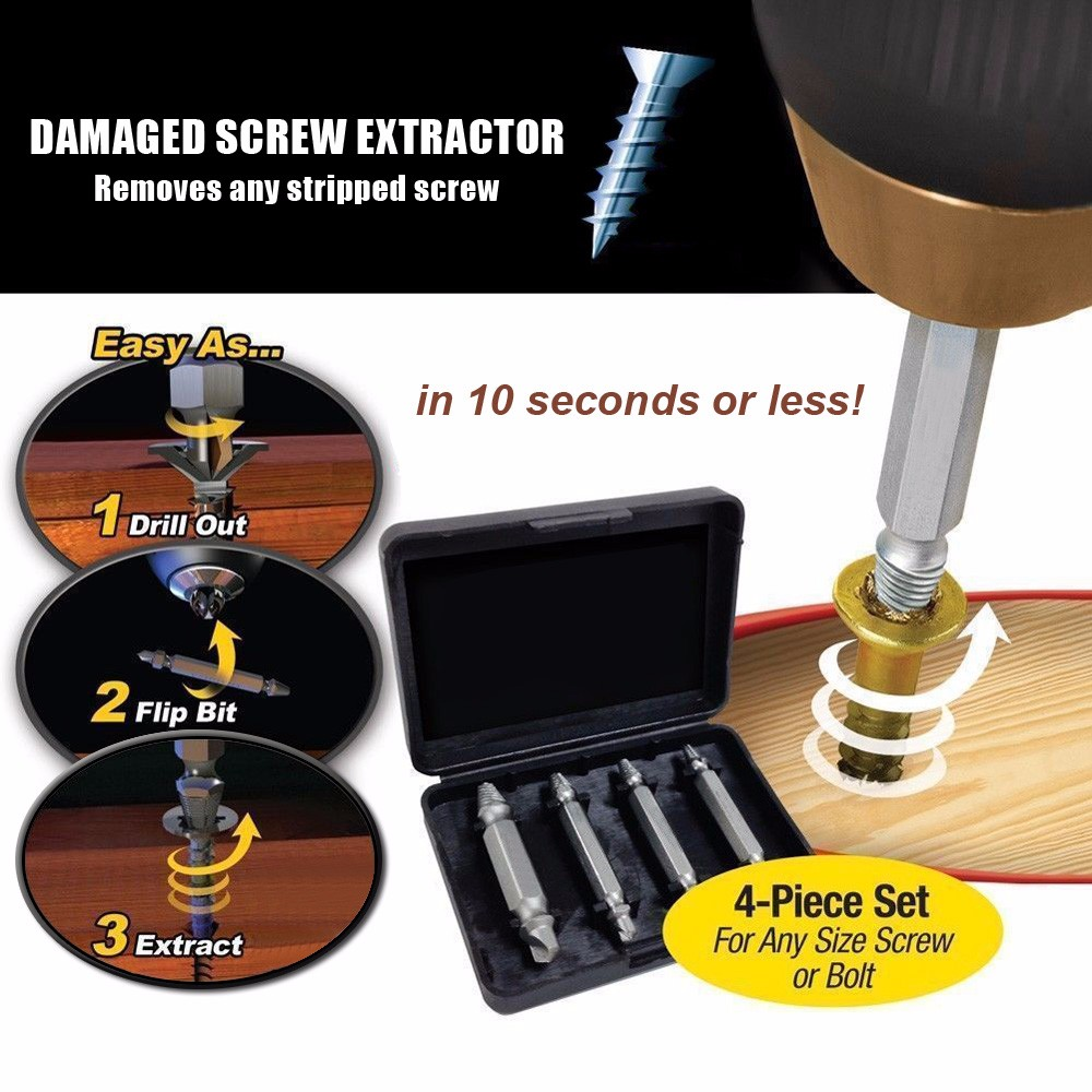 4pcs Screw Extractor Drill Bits Guide Set Broken Damaged Bolt Remover Double Ended Damaged Screw Extractor 5pcs set screw extractor drill bits guide broken damaged bolt remover drop shipping sale