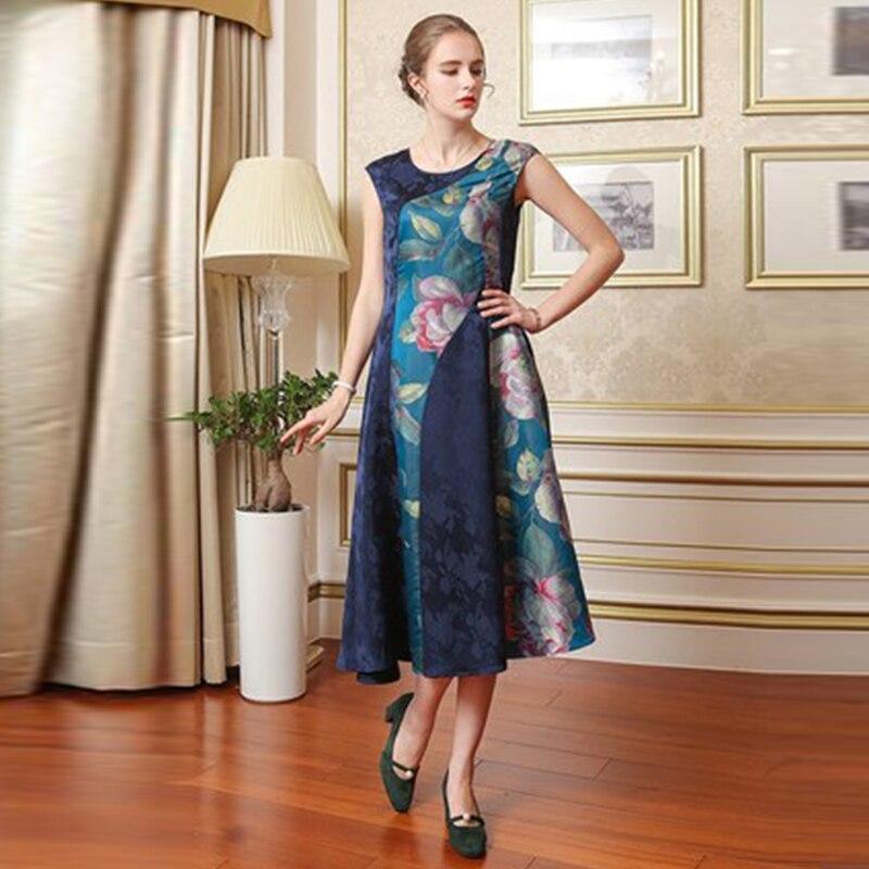 Bleu Floral Luxe Partie A7655 Soie Imprimé Longue Slim Robes Élégant Femmes Jacquard De Vintage Piste Automne Robe Voa Chinois sCQdBxrth