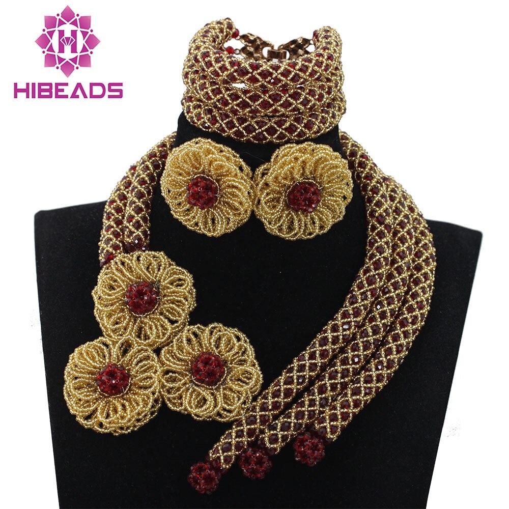 Vin rouge perles de mariage africaines bijoux ensemble or fleur collier boucles d'oreilles ensemble femmes fiançailles fête célébration livraison gratuite QW478