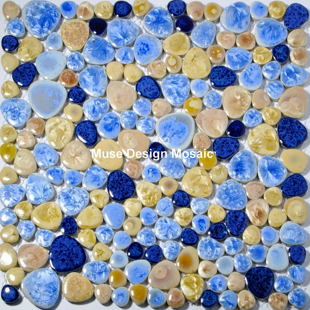 Porcelain Pebbles Art Fambe Mosaic Navy Blue Beige Glazed Pebble ...