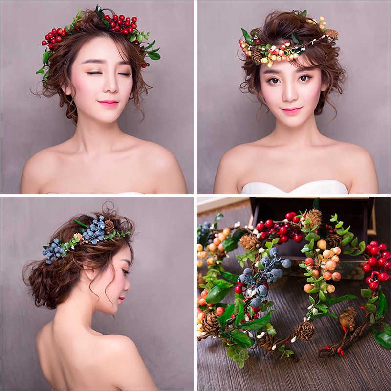 8ca853c76e64f Haimeikang New Hot Bridal Forest Flower Headband For Women Color Fruit  Wreath Wedding Hair Accessories Tiara And Crown Hairband