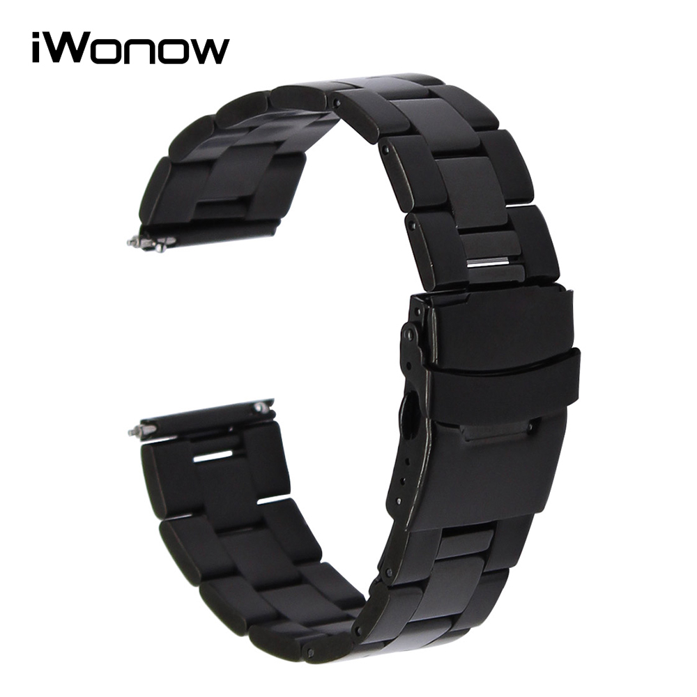 22mm Quick Release Stainless Steel Band Safety Bukcle Wrist Strap for LG G Watch W100 W110