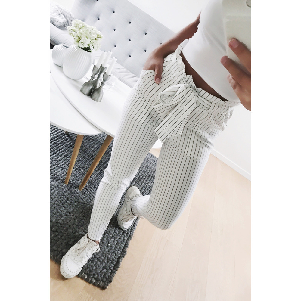 2018 New Striped OL Chiffon High Waist Harem Pants Women Bowtie Elastic Waist Trousers Female Stringyselvedge Casual Pants