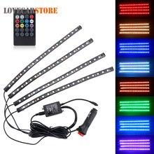 Музыка управление RGB светодио дный LED авто интерьера Атмосфера лампы автомобильные шасси огни бар неоновые полосы света с дистанционным