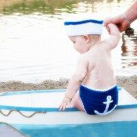 Newborn Photography Props Sailor Suits Infant Baby Beanie Hat Pants Shoes Newborn Girls Boys Crochet Clothing