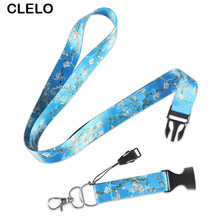 Fashion Blue Flower Paiting Lanyard bag accessories Bag Neck Strap For Mobile Phone USB Holder ID Name Badge Holder Keys(China)