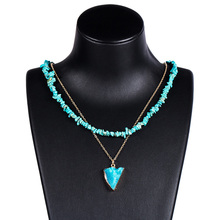 Bohemian za Beads Multilayer Necklace Turquoises Handmade Necklaces for Women Natural Stone Pendant Party Jewelry T34