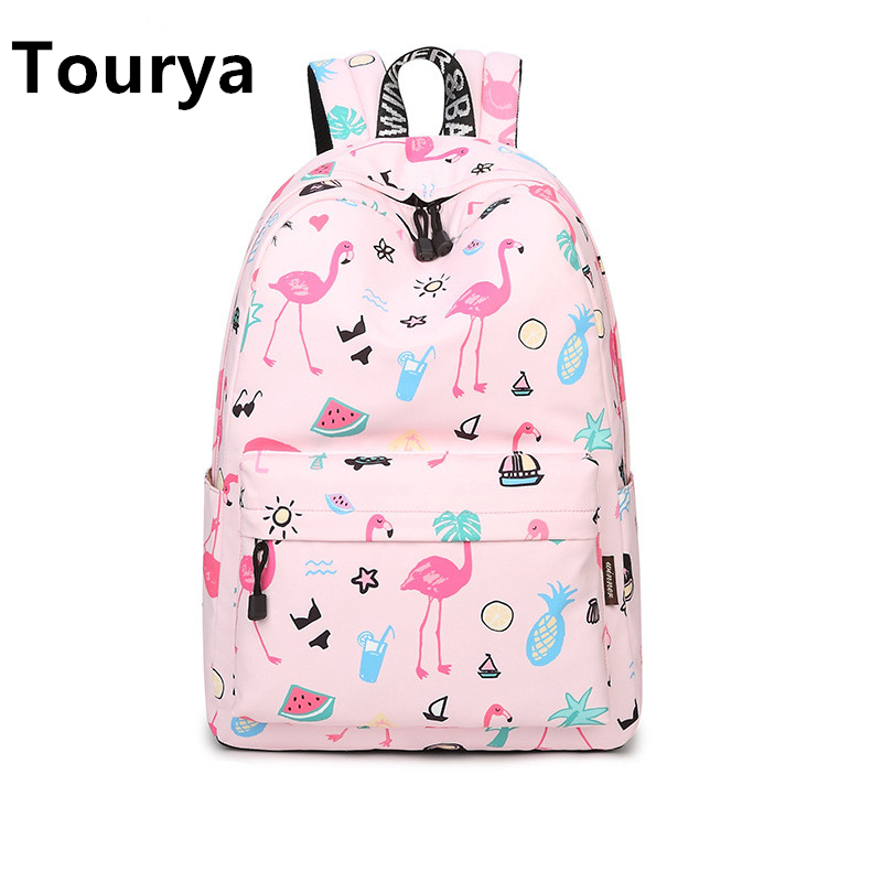 Tourya Fashion Women Backpack Waterproof Cute Pink Flamingo Animal Printing School Bagpack for Teenage Girls Knapsack Mochila цена