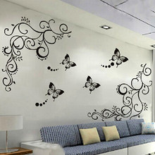 3D lowest price calssic black butterfly flower Wall sticker home decor poster flora butterflies TV wall beautiful decoration(China)