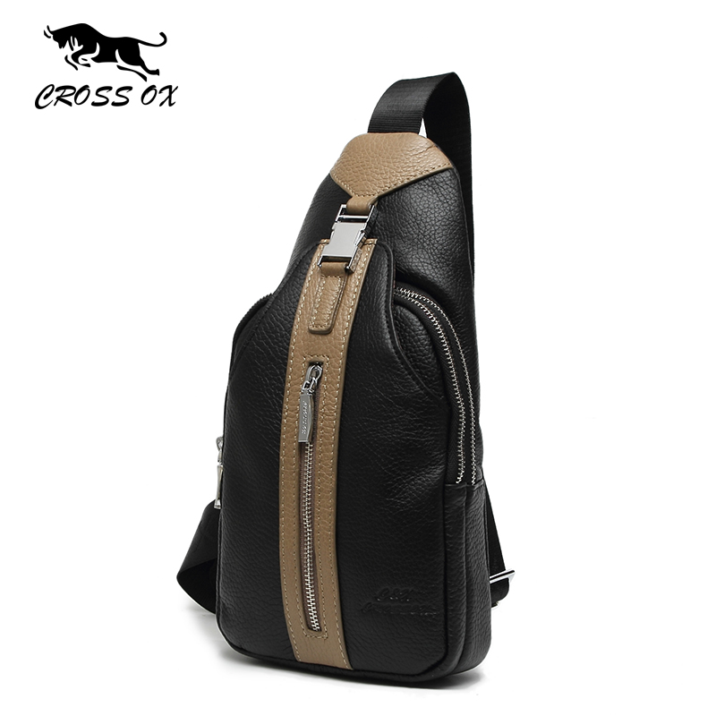 купить  CROSS OX Genuine Leather Messenger Bag Men's Chest Bag Shoulder Bags For Men Business Casual Fashion Travel Bag SL385M  недорого