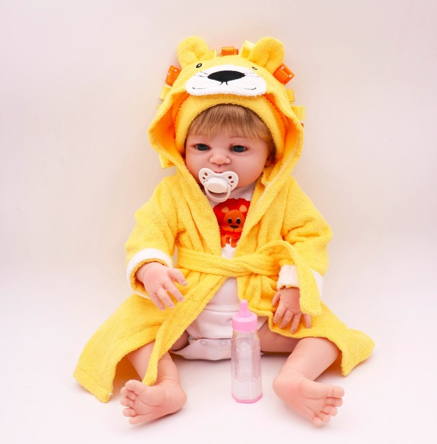 55cm Silicone Body Reborn Baby Doll Toys in Cute yellow