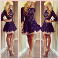 Short Mini Lace Cocktail Dress Prom Party Dress Summer Women Dress with Sleeves A-Line Three Quarter Sleeves vestidos de fiesta