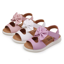 CHAMSGEND 2017 Summer Kids Children Sandals Fashion Bowknot Girls Flat Pricness Shoes   Sep8 Dropship