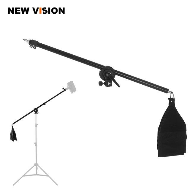 """Braço telescópico de estúdio, 75 140cm / 30 """" 55"""" para fotos, braço de boom, luz superior, com sandbag para speedlite/mini flash estroboscópico"""