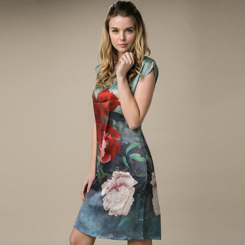 100% Silk Straight Dress Natural Pure Silk Women Dress Summer New Desigual Charmeuse Satin Dress Flower Printed Pattern Grey