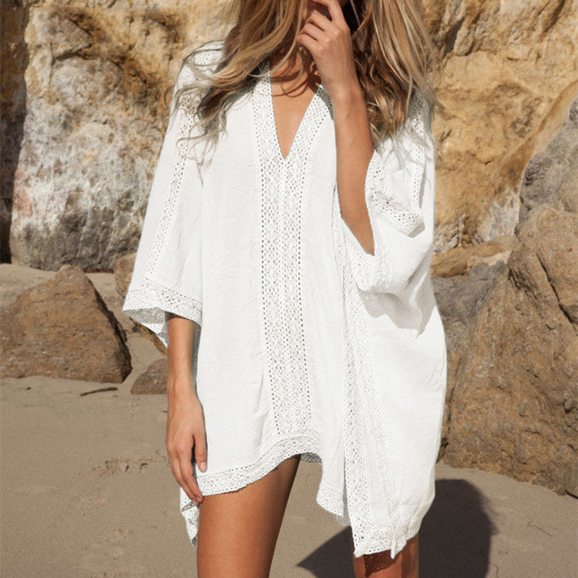 b3a3e717c5 2019 New Plunge-front Caftan Pareo Beach Cover Ups Rayon White Robe De Plage  Sarong Plus Size Swimwear Tunic Swimsuit Coverup