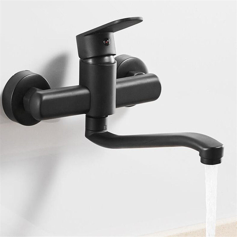 Mop Pool Faucet Black Kitchen Tap Brass Sink Faucet Wall Mounted Kitchen Faucet Single Handle Washing