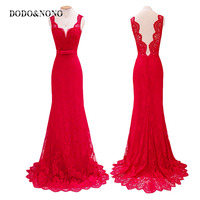 2017 New Fashion Women Sexy Sweep The Floor Red Deep V Neck Sleeveless Dress Lace Skirt