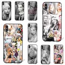 Protective Cara Delevingne Tempered Glass Phone Case for iPhone 5S Cover XR X 7 5 8 Plus 6 6S SE Xs Max 11 pro Silicone(China)