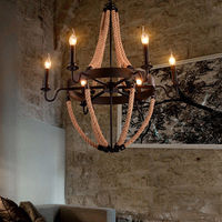 Industrial Rustic Hemp Rope Chandelier 6 Light Candle Pendant Light Ceiling Lamp