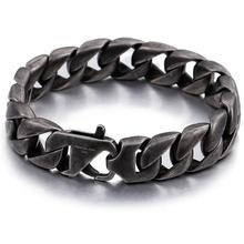 Granny Chic Punk Style Black Stainless Steel Men Bracelet 15MM Wide Mens Chain Bracelets & Bangles Armband Jewelry