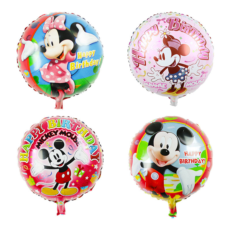 18inch 50pcs Happy birthday Mickey Minnie Mouse Foil Balloons round Helium Globos Ballon Baby Shower Birthday Party Decoration