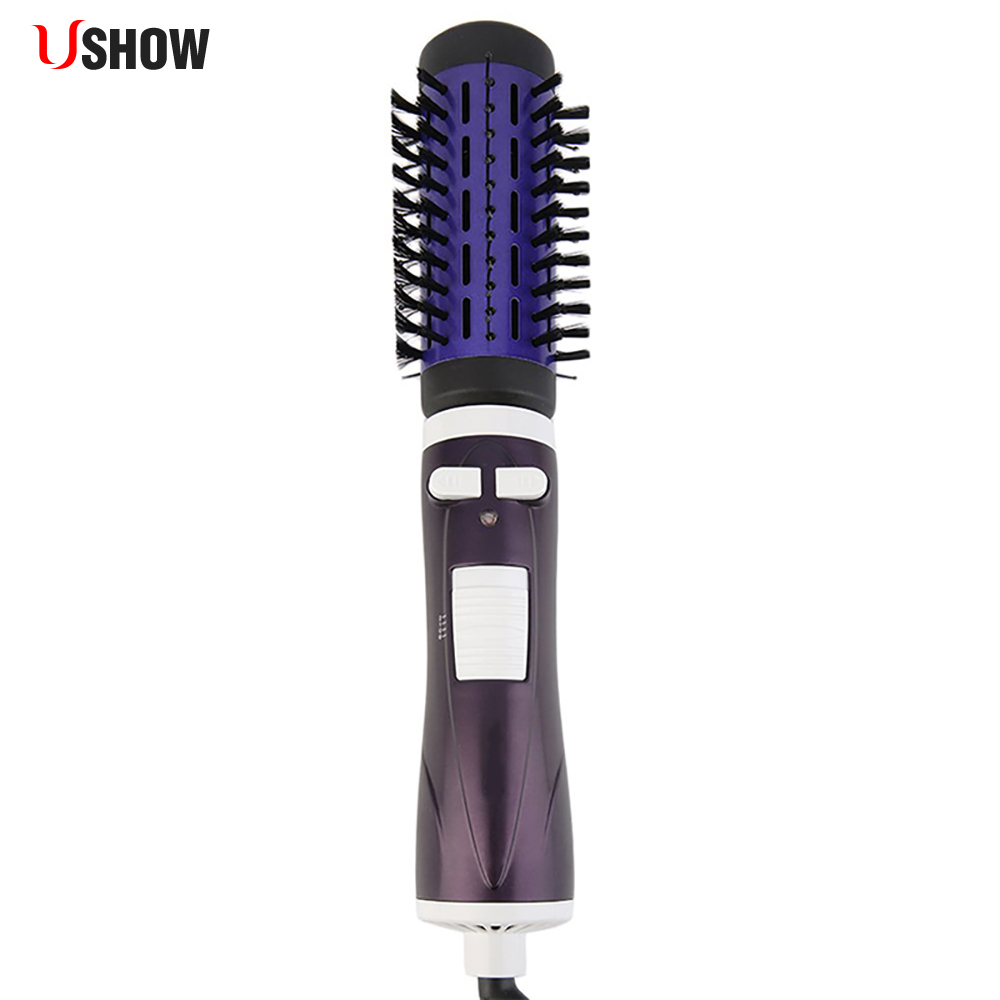 USHOW Round Hair Brush Electric Salon Styling Tools Hair Curler Curly Hairbrush Roller Comb Auto Rotation ckeyin 5pcs ceramic ionic round comb barber hair dressing salon styling tools 5 sizes barrel hairbrush for hair curling drying