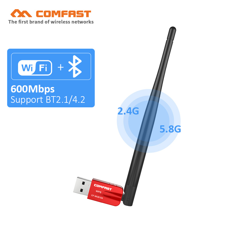 AC600 600Mbps Dual Band Wireless USB Wifi Dongle Adapter With 5dBi Antenna BT4.0 Wireless PC Network Lan Card 802.11b/g/n/ac