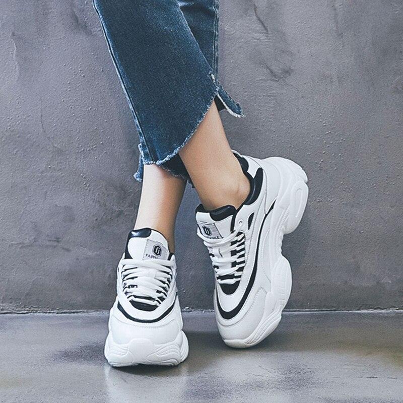Dumoo Chunky baskets baskets chaussures femmes en cuir de vache chaussures de printemps décontractées femme noir/blanc chaussures Zapatillas Mujer Deportiva