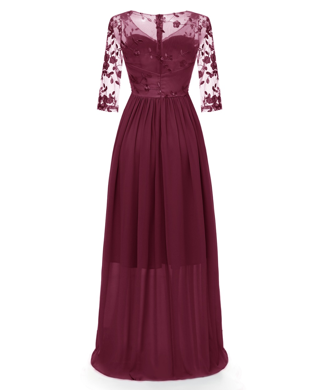 Women Floral Embroidery Lace Illusion Long Dress 3/4 Sleeve Sheer Back Maxi Dress Floor Length Formal Party Dress 5