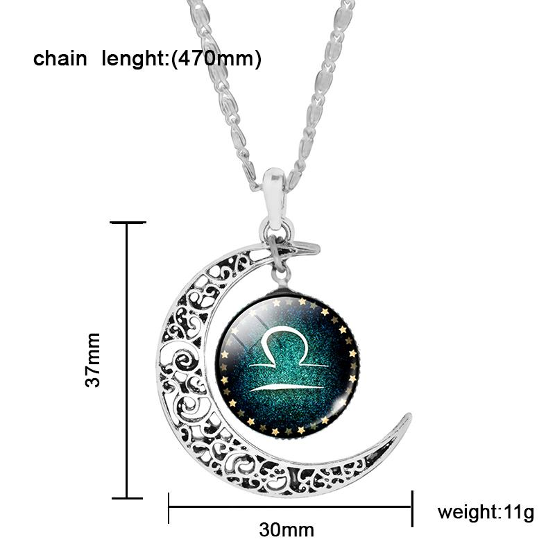Silver Color Zodiac Glass Cabochon Choker Crescent Moon Necklace