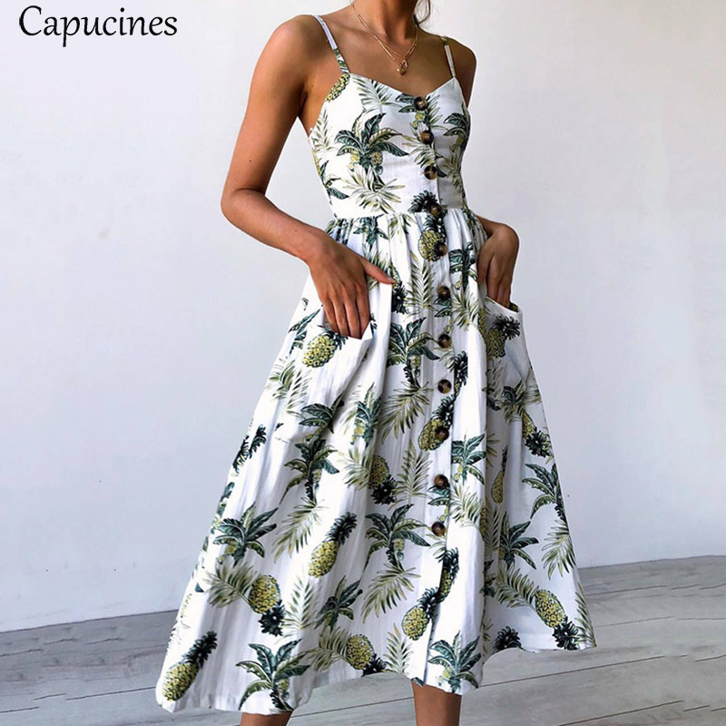 <font><b>Boho</b></font> Style Sunflower Pineapple Floral Print Long <font><b>Dresses</b></font> <font><b>2018</b></font> <font><b>Summer</b></font> <font><b>Women</b></font> Button <font><b>Sexy</b></font> V Neck Backless Strap Casual Beach <font><b>Dress</b></font> image