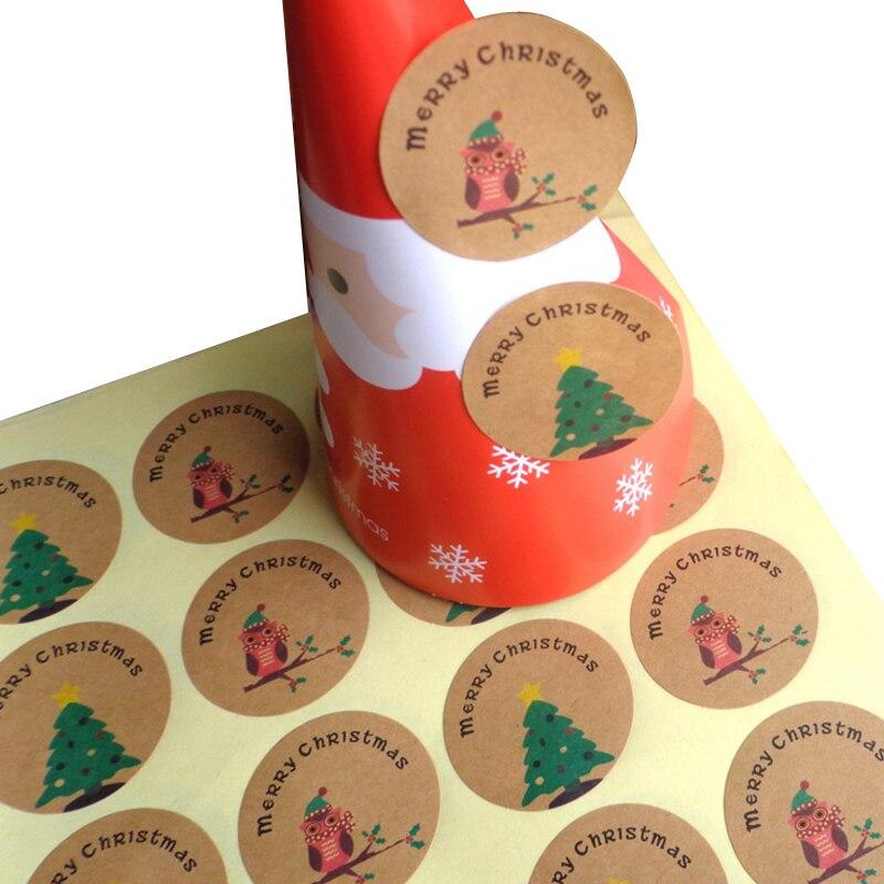 Купить с кэшбэком 120 Pcs/lot Stickers Scrapbooking 'Merry Christmas' Christmas Tree&Owl Round Kraft Paper Seal Label Sticker Handmade Gift Seal