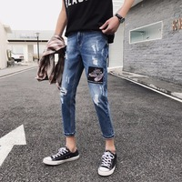 HOT 2019 Fashion Casual Leisure teenagers men accept feet jeans hole high street hip hop embroidery patch trousers ankle length