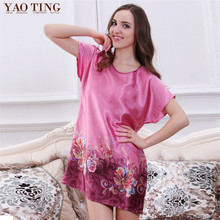 New Women Nightgowns&Sleepshirts Multi-pattern Cheap 2016 Summer National Wind Loose Faux Silk Nightgown Indoor Clothing