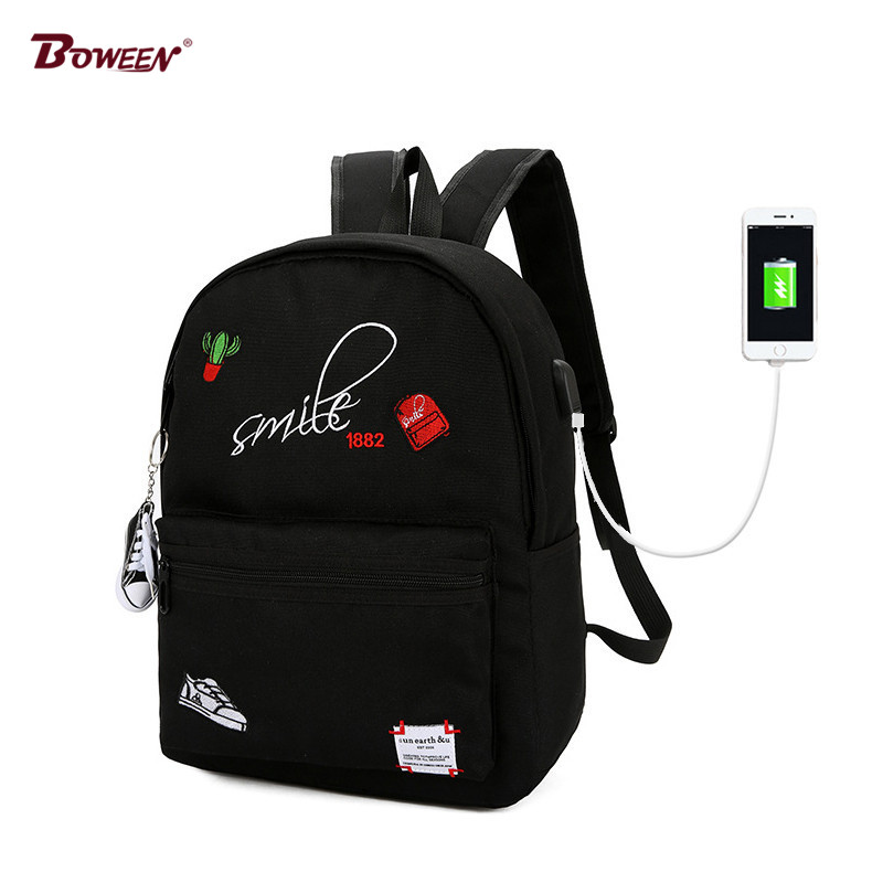 Teens Canvas boy school bags for teenage girls Backpack Schoolbag Women Usb Student Bags men Black book bag for teenagers college girl canvas 3pcs backpack letters printing women usb school backpacks schoolbag for teenagers student book shoulder bags