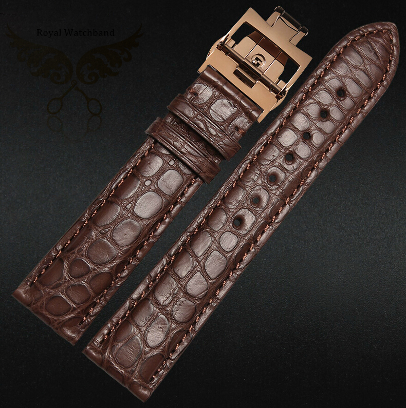 18mm 19mm 20mm 21mm 22mm New High quality Genuine Leather Brown Watch Band Alligator Strap with Deployment Buckle new mens genuine leather watch strap bands bracelets black alligator leather 18mm 19mm 20mm 21mm 22mm 24mm without buckle